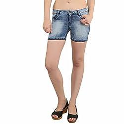 BAT Light Blue Solid Washed Shorts For Women
