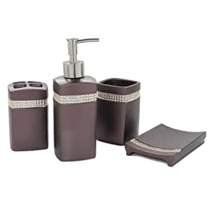 Dream Bath Star Radiance Bath Ensemble 4 Piece Bathroom Accessories Set Luxury Bath Accessories Set Soap Dispenser/Toothbrush Holder/Tumbler/Soap Dish