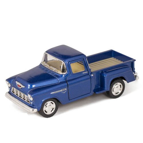 Blue 1955 Chevy Stepside Pick-Up Die Cast Collectible Toy Truck