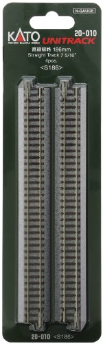 """Kato N Scale Unitrack 7 5/16"""" 186mm Straight Track - 4 per package - 1"""
