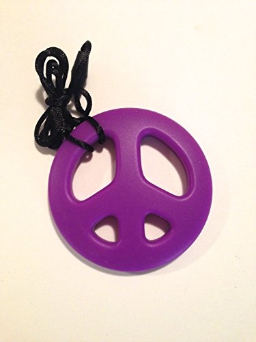 SillyMunk TM Silicone Teething Animal Pendants - Peace Signs (Purple)