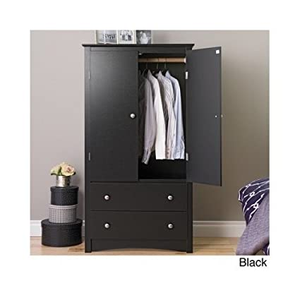 Modern Composite Wood Finish Options Armoire Bedroom Furniture (2 Finishes) Includes Scented Candle Tart (black)