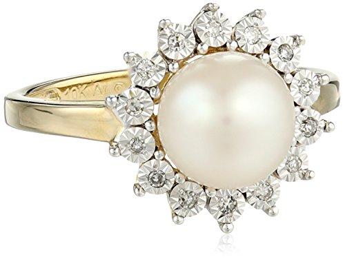 10k Yellow Gold Lady Di 8mm Freshwater Cultured Pearl and Diamond Ring, Size 7