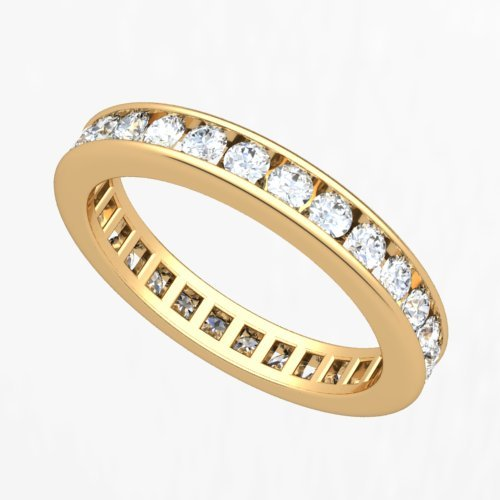 18k Yellow Gold Channel set Diamond Eternity Wedding Band Ring (G-H/VS, 1 ct.)