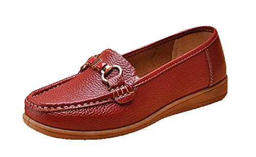 Passionow Women's Casual Slip-on Round Toe Sewing Flat PU Loafers (8.5 B(M)US,red) (Hello Sexy In Spanish)