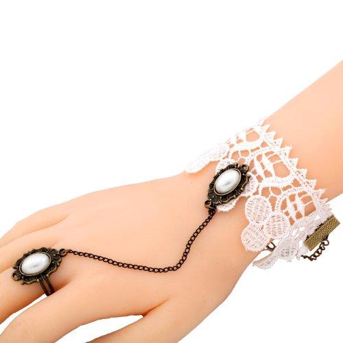 Yazilind Spitze-Armband- Ring -weiße Spitze Ketten-Legierungs- Ring Elegante Charm Schmuck für Frauen
