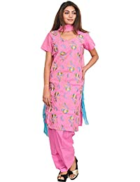 Exotic India Aurora-Pink Salwar Kameez Suit With Embroidered Flowers And - Pink