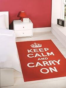 Tapis retro pour chambre ado keep calm carry on rouge anti glisse 100x160cm - Tapis pour chambre ado ...