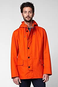 Cotton Hoody Coat With Leather Trim