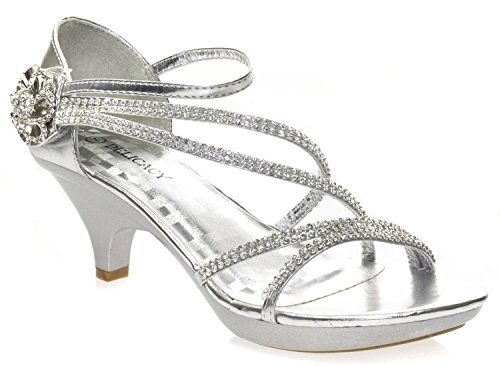 Delicacy Womens Angel-48 Party Dress Sandals Pumps,Silver,8