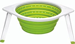 Chefn SleekStor Collapsible Colander Large 11-Inch Diameter, Arugula/Meringue