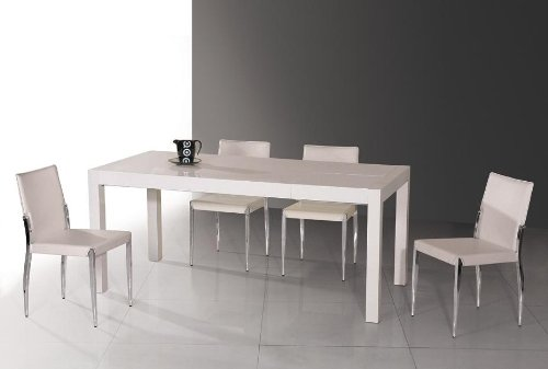 T061 Modern White Extendable Lacquer Table