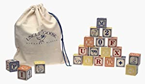 Uncle Goose Wooden ABC Blocks with Bag - Made in the USA
