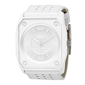 KR3W Men's K1016-WHT Stealth White Dial White Leather Watch