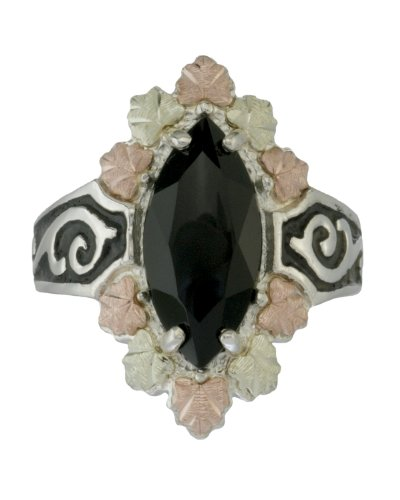 Womens Onyx Marquise Antiqued Sterling Silver, 12k Pink Gold, 12k Green Gold Black Hills Gold Motif Ring, Size 7