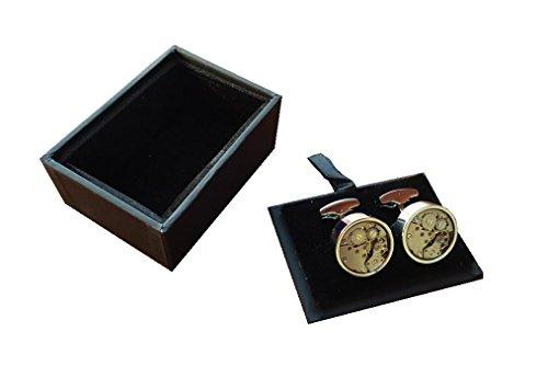 Silber Armbanduhr Uhrwerk Herren Mannschettenknöpfe Uhrwerk Arbeit Steampunk Vintage Hochzeit - Manschettenknöpfe + Samt Ausgekleidet Geschenkbox