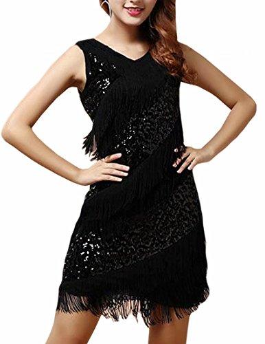 [MFrannie Women's Fashion Sexy Latin Dance Sequins Sparkly Tassel Dress Costume Black] (Black Sparkly Dance Costumes)
