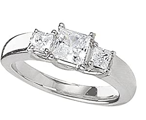 Platinum 1/2 ctw. Princess Cut Three-Stone Diamond Ring Size 6