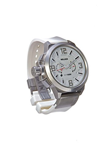 Welder Men's Quartz Watch with White Dial Analogue Display and White Rubber Strap K22-900