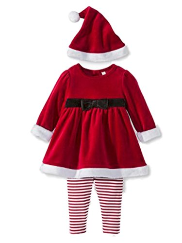 Cherokee Infant Girls Red Santa Suit 3 Piece Set Mrs Claus Christmas Outfit