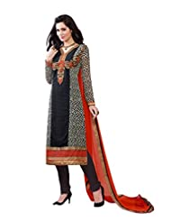 Georgette Black Straight Unstitched Embroidered Dress - B01A5OH7FQ