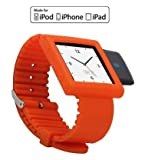 KOKKIA i10sWatch (Tangerine Tango): The Ultimate Fashion Watch. (COLOR OF THE YEAR TANGERINE TANGO Nano 6G watch band, with Tiny Luxurious Black i10s) Tiny Bluetooth iPod Transmitter with iPod Nano 6G watch band (iPod Nano Not included).