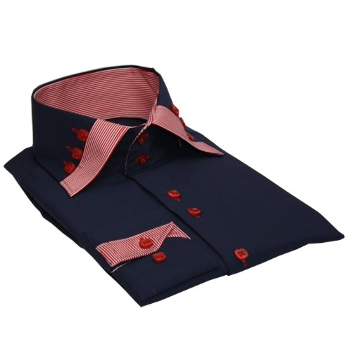 Italian Design Men's High Collar Shirt Formal & Casual Wear Navy Blue Colour