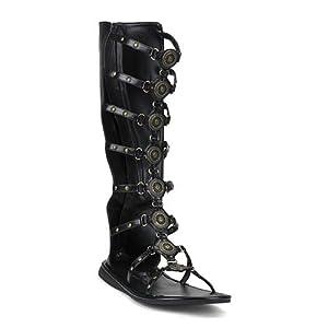 Roman-15 Sandal, Black Pu, Size Large(12/13)