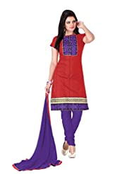 Aarti Lifestyle Women's Cotton Embroidered Red & Purple Unstitched Churidar Suit