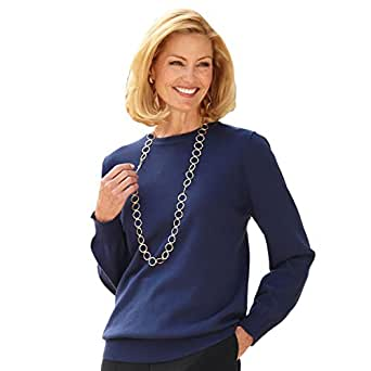 Blair Women's Plus Size Cotton Sweater - XL Navy at Amazon