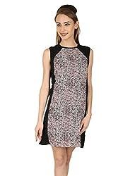 Aussehen Women's Crepe Floral Dress (AU 9004_S_Pink)