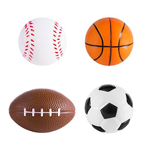 Check Out This Sports Themed Mini Stress Balls Squeeze Foam for Anxiety Relief, Relaxation, Party Fa...