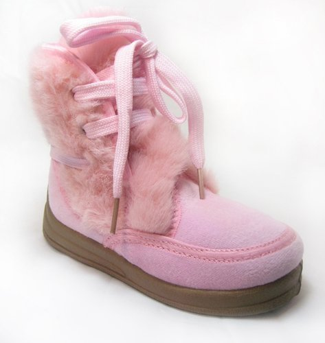 Pink Furry Shearling Kids Toddler Winter Boots