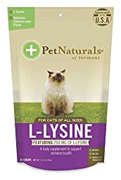 L-Lysine Chews for Cats, Immune and Respiratory Support Supplement, 60 Bite Sized Chews (3.17 oz)