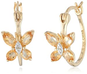 Yellow Gold Plated Sterling Silver Citrine Butterfly Hoop Earrings and Diamond Accent
