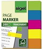 Sigel HN615 Haftmarker Film, 200 Streifen, grün, blau, pink, gelb, orange, Streifenformat: 50 mm x 12 mm