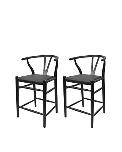 Manhattan Living Set of 2 Woodstring Counter Chairs, Black