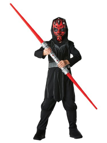 Uk Darth Maul In Bag Kids Costume Large Star Wars Fancy Dress Outfit