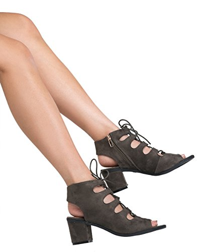 Gladiator lace up Low Heel Bootie - Chunky Block Ankle Boot - Trendy Tie Up Sandal Ð Twirl by J. Adams