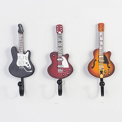 guitare trois pi ces de r sine fer crochets pat res d coratives murale retro accessories. Black Bedroom Furniture Sets. Home Design Ideas