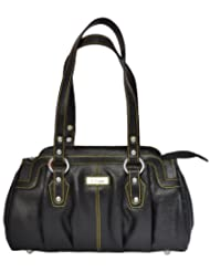 Zifana Leather Hand Bag Black For Women - B00JHN2AEA