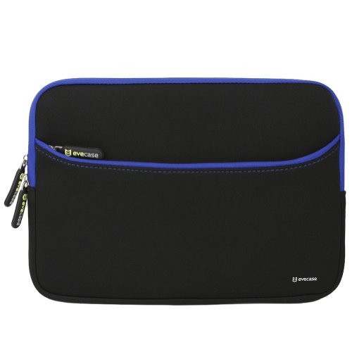 Evecase 11.6-Inch Neoprene Padded Slim Sleeve Case with Exterior Accessory Zipper Pocket for Laptop Notebook Chromebook Computer - Black with Blue Trim (Acer Asus Dell HP Lenovo Samsung Sony Toshiba