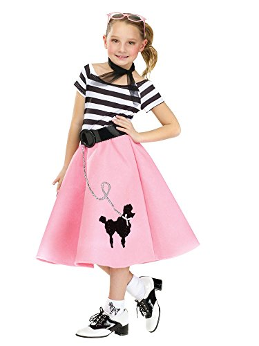 [50's Soda Shop Sweetie Child Poodle Skirt Costume Multicolor/Large (12-14)] (50 Girl Costume)