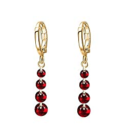 Sorella'z Red Golden Brincos Rhinestone Earrings