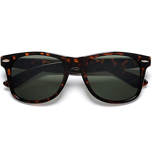 Sunglass Spot- Retro Classic Tortoise Frame G-15 Lens Wayfarer Sunglasses (Tortoise/G-15)