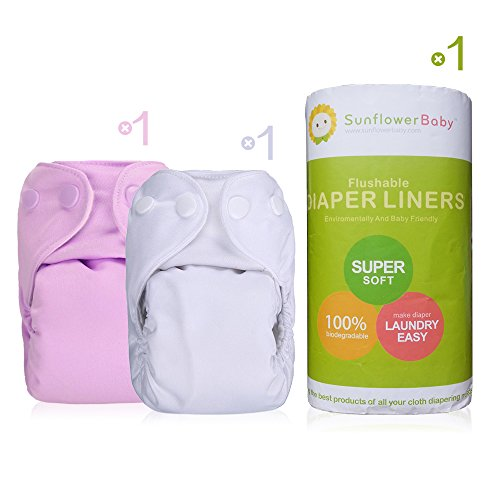 Sunflowerbaby Newborn Cloth Diaper And Diaper Liner Package, Pink And White