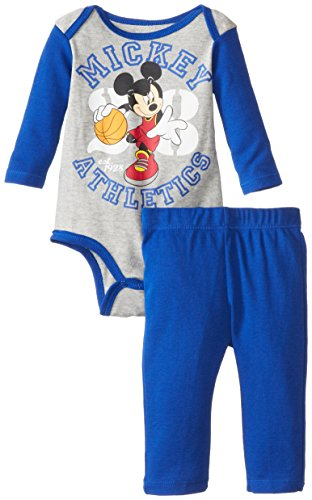 Disney Baby Boys Newborn Mickey Mouse Bodysuit And Pant Set, Grey, 0-3 Months front-509011
