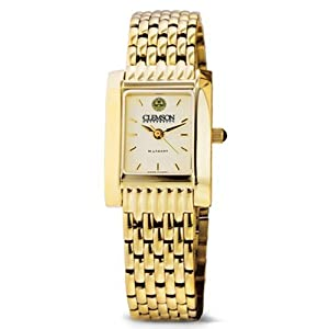 Clemson University Ladies Swiss Watch - Gold Quad Watch with Bracelet by M. by M.LaHart & Co.