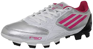 adidas Women's F5 TRX FG Soccer Shoe,Metallic Silver/Running White/Bright Pink,9 M US