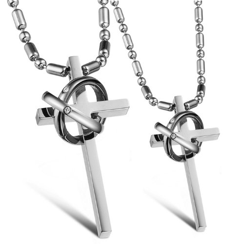 Opk Jewellery Fashion Stainless Steel Necklace Cross In Ring Form Pendants